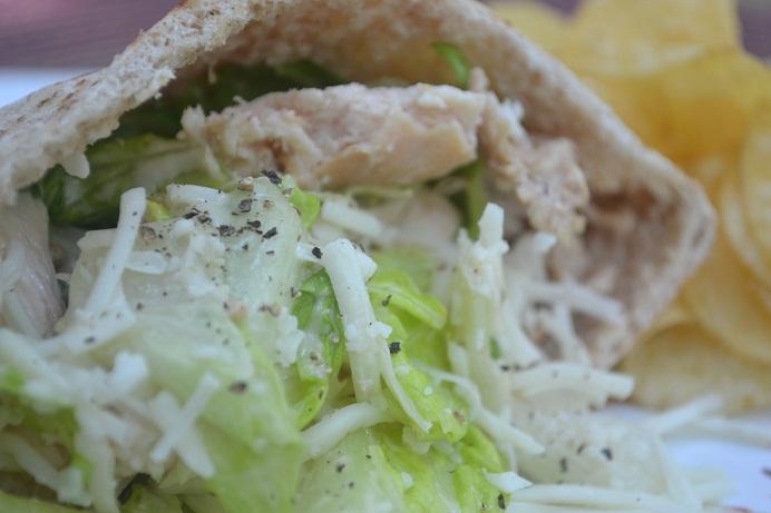 Leftover Chicken Cesear Pita Recipe