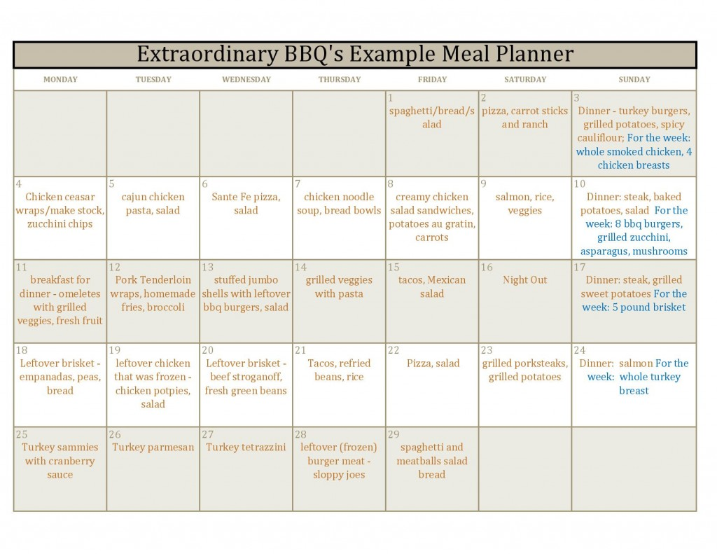 Calendar for Meal Planning