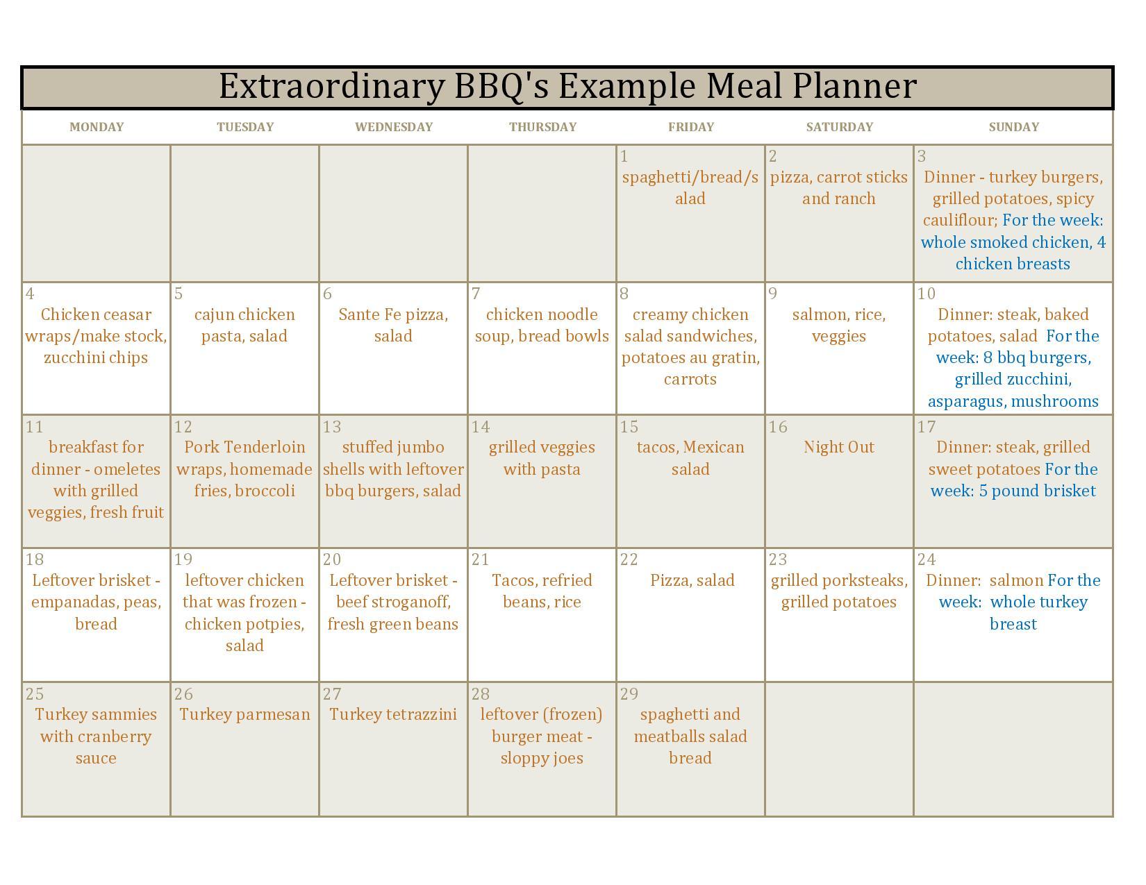 food planning calendar