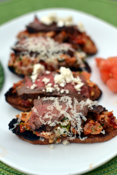 Grilled Bruchetta with Flank Steak