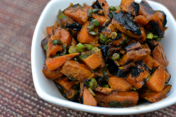 Grilled Sweet Potatoe and Green Onion Salad